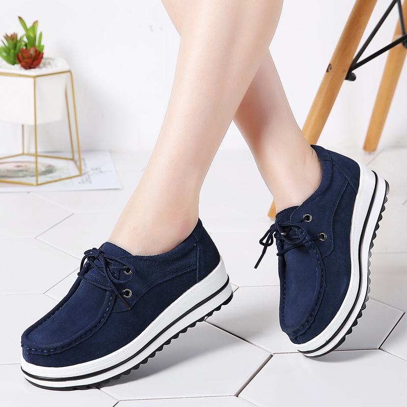 2019 Spring Women Platform Sneakers Shoes Ladies Casual   Leather     Suede   Lace Up Moccasins Chaussure Femme Flats Creepers Woman 526