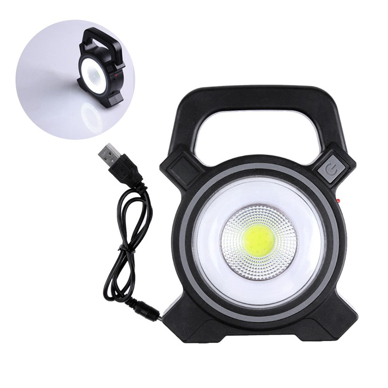 Rechargeable Solar Camping Hiking Tents Light Solar COB Work Light Portable Flashlight 2 Mode Emergency Spotlight Lamp