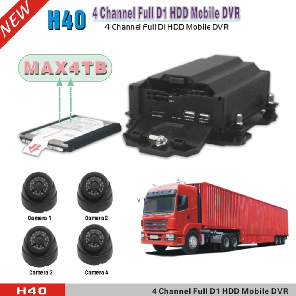 4ch cctv mobiele dvr full d1 4 channel dg gsm mobiele dvr H40-4G DVR with Time Surveillance 4G Function new time d1