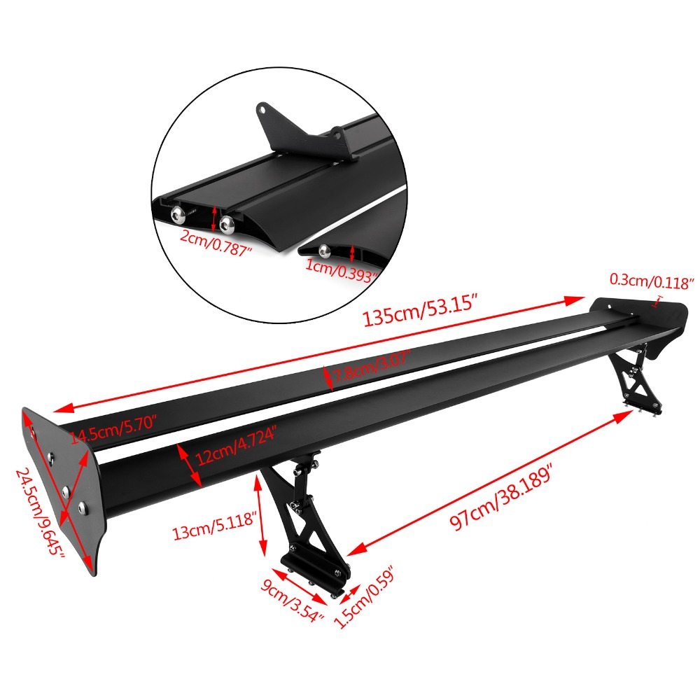 135cm Universal Car Sedan High Quality Lightweight Aluminum Spoilers Wings GT Truck Racing Spoiler Rear Tail Wing Clamp Trunk-in Spoilers & Wings from Automobiles & Motorcycles    2