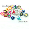 24pcs/lot  with box Fimo flower scarf stick pin Muslim Hijab pins wedding decoration flower pins Fimo flower Brooch Pins