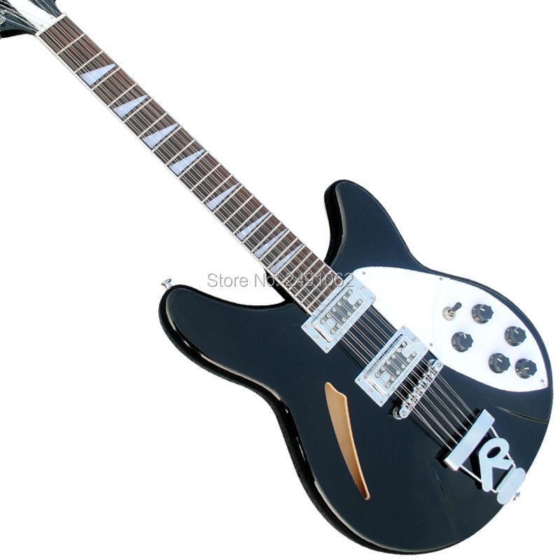 high quality custom custom 12 string electric guitar bass new black hollow body guitar free. Black Bedroom Furniture Sets. Home Design Ideas