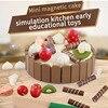 Mini Magnetic Cake Play Plastic Food Set Kids Gift Birthday Cake With Cutting Knife Tea Pot