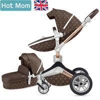 Gratis verzending Hot Mom 2 in 1 Luxe Kinderwagen twee-weg Pasgeboren vervoer Hoge Landschap Baby Kinderwagen Licht folding PU Materiaal 2