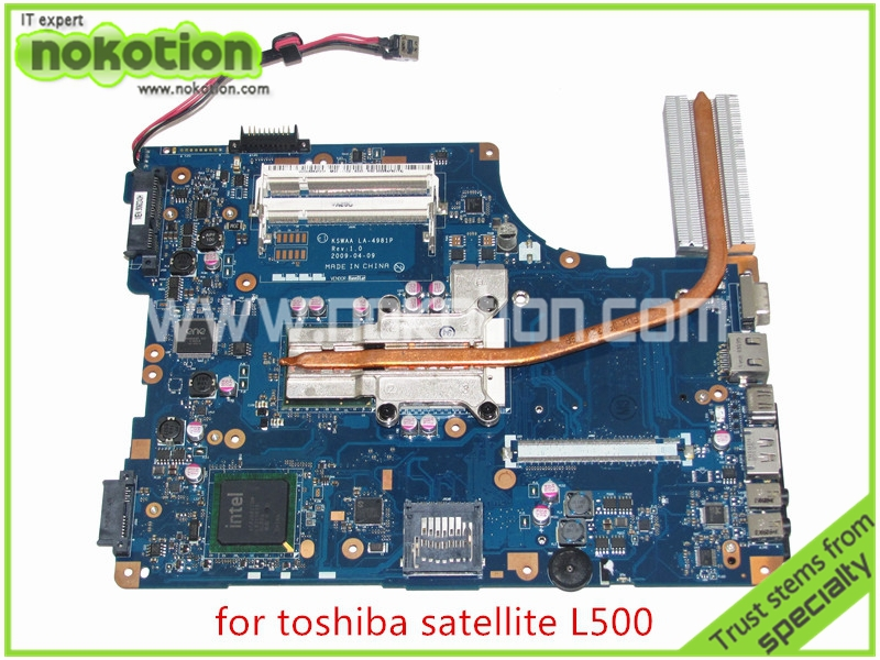 NOKOTION KSWAA LA-4981P REV 1.0 Laptop Motherboard For toshiba satellite L500 intel GL40 DDR2 Without graphics slot Mainboard laptop motherboard for toshiba satellite l550 l555 k000092150 la 4982p kswaa 46179151lb2 100% tested good