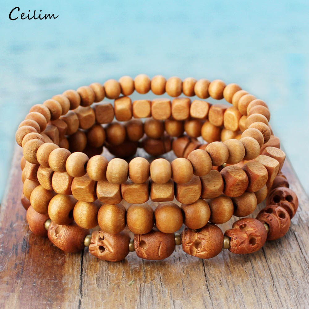 Punk Wood Prayer Beads Buddh Bracelets & Bangles Set 4 Shapes Handmade Skull bilezik men jewelry Religious Gift Free Shipping