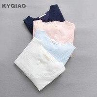 KYQIAO Mujer de encaje suéter 2018 mori niñas otoño primavera Japonesa estilo fresco blanco azul rosa de encaje de cuello v blusa blusa top