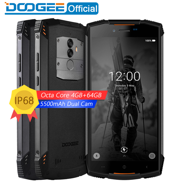 Real IP68 DOOGEE S55 waterproof Smartphone 4GB RAM 64GB ROM 5500mAh MTK6750T Octa Core 5.5inch Android 8.0 Dual SIM 13.0MP