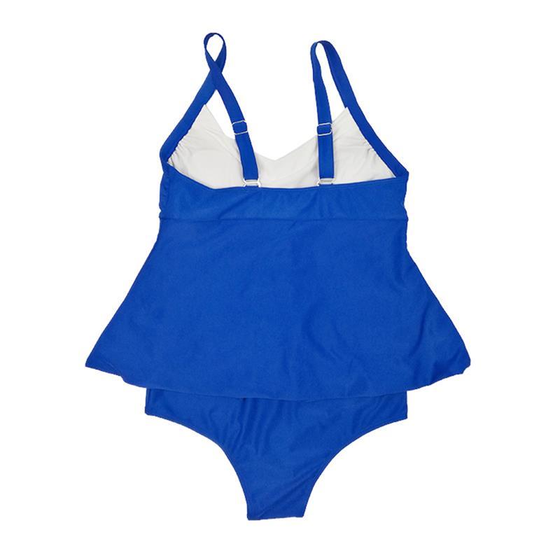OULING New Patchwork Swimwear Plus Size Tankini Set Blue Two Pieces Bathing Suit Push Up Bikini 6XL Beach Wear Big Swimsuit in Bikinis Set from Sports Entertainment