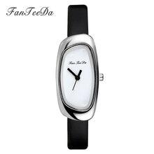 FanTeeDa 2017 Лидирующий бренд Для женщин часы кварцевые сплава платье Повседневное наручные часы кожаный ремешок серебряный роскошные дамы наручные часы
