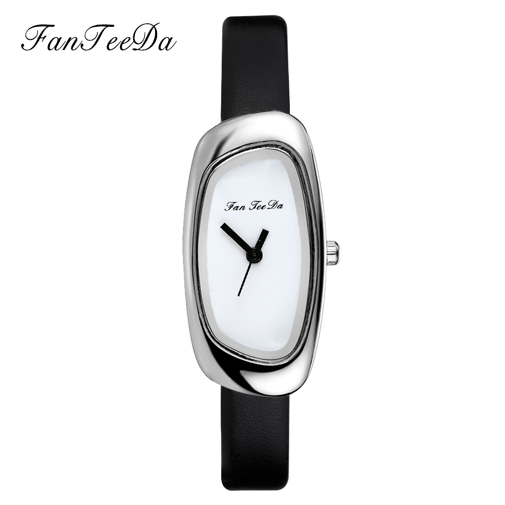 FanTeeDa  Top Brand Women Watches Quartz Alloy Dress Casual  Wrist Watch Leather Strap Silver Luxury Ladies Wrist Watch
