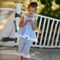 Europeos y Americanos Estilo de Chica Conjuntos de Tela Escocesa Ruffles & bow Chica Tops y pantalones de Los Niños Que Arropan Verano Traje de Princesa y Custumes