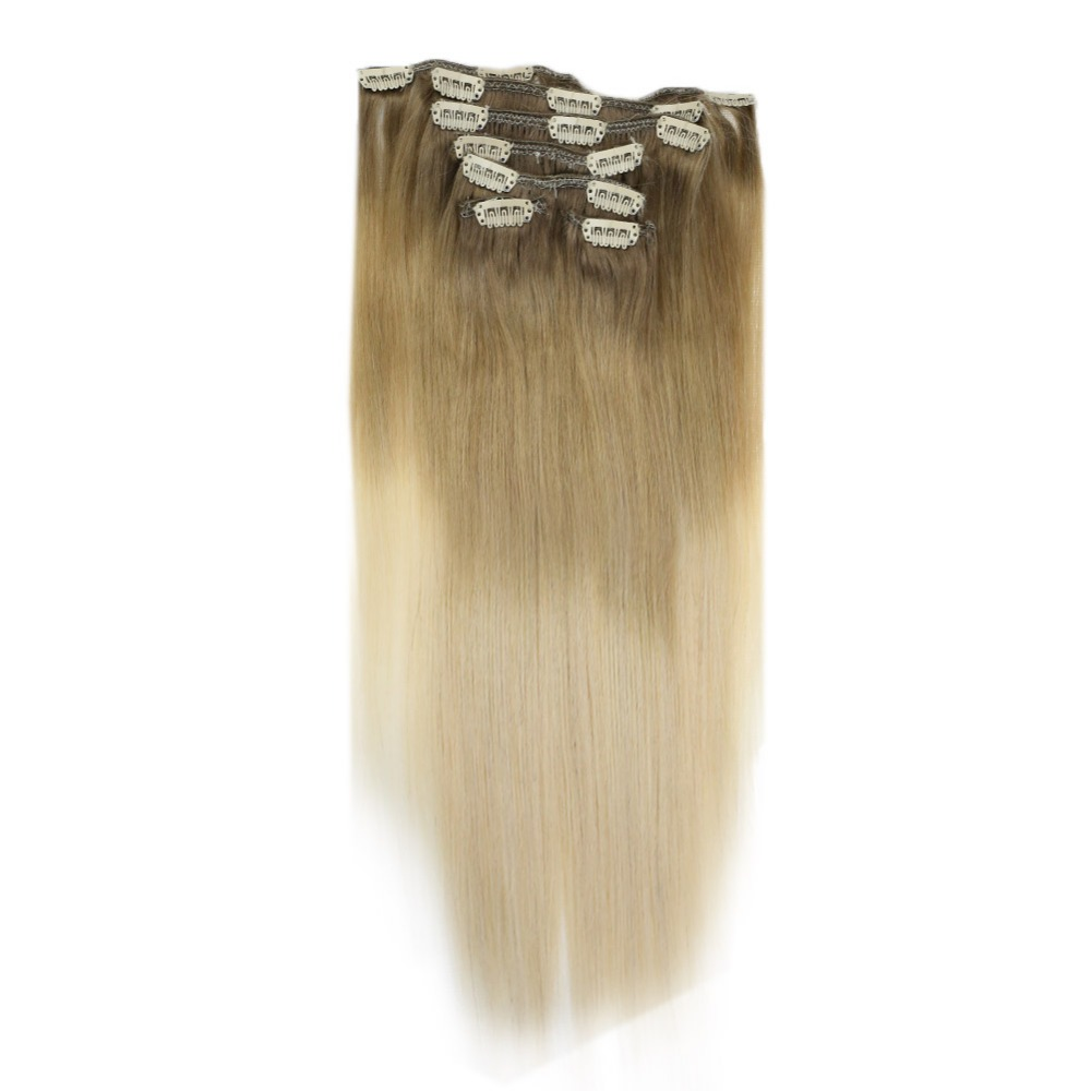 Full Shine Human Hair Clip In Extensions Blonde Balayage Color #8 Fading To #18 Highlighted Color 60 Remy Clip In Ombre Hair