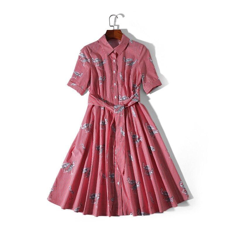 Rayé Bleu Turn Dames Tenue Mignon Coton 100 Robe Col Longue down Décontractée Rose Printemps pink Imprimer Chemise Oiseaux Été 2019 Blue ZgFpqwFOB