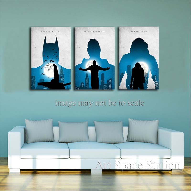 Online buy wholesale dark knight canvas from china dark for Dark knight rises wall mural