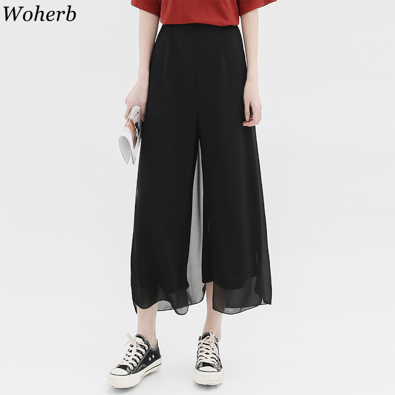 Woherb 2019 Women Summer Chiffon High Waist   Wide     Leg     Pants   Split Elastic Waist Loose Ankle-length   Pants   Trousers Pantalones