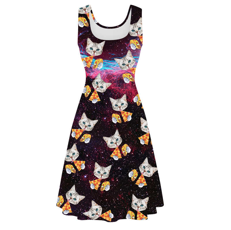 663df9a87d Star Pizza Cat Dress Digital Printing Women s Casual Quick-drying  Breathable Sleeveless Dresses 2018 Drunk