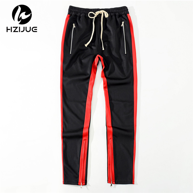 HZIJUE high quality 2018 New Autumn Mens Sportswear Pants Side Stripe zipper Jogger Pants Elastic Waist Vintage Casual Pants