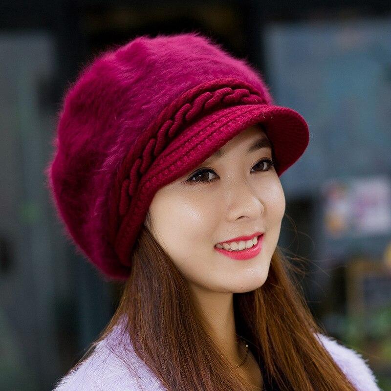 Hat Female Winter Korean Rabbit Fur Cap, Pure Duck Tongue Beret Cap, Warm Knitted Wool Cap Fall and Winter Fashion Cap