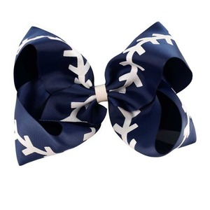 """Image 5 - 10 Pcs/lot 7"""" Glitter Printed Ribbon Baseball Bow With Clip For Kids Girls Handmade Boutique Large Hairgrips Hair Accessories"""