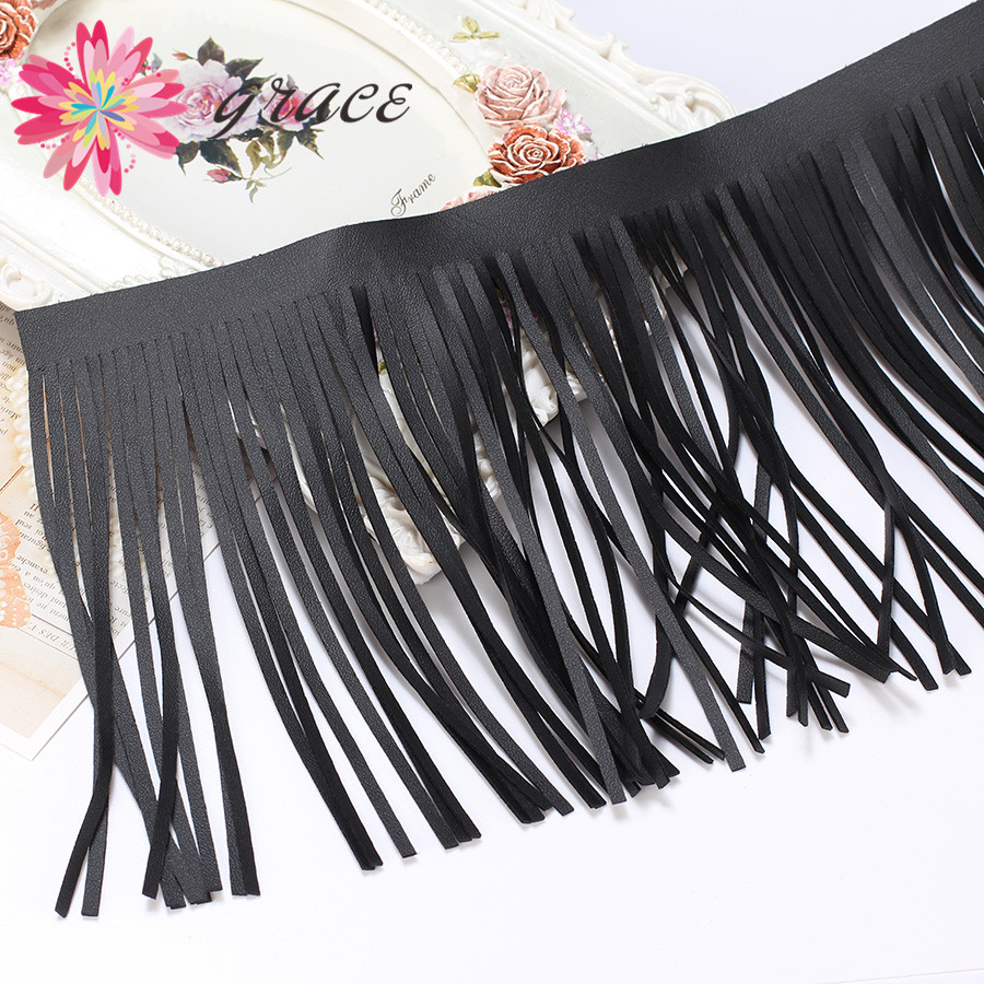 3m/Lot 15cm Suede Black PU Leather Tassels Fringe Trim For Diy Necklace Lace Skirt Clothes Latin Dance Dress Crafts Accessories(China)