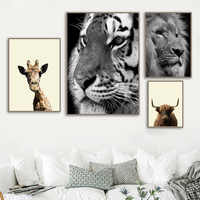 Giraffe Lion Tiger Cow Mull Scotland Animal Nordic Poster and Print Wall Art Canvas Painting Wall Pictures For Living Room Decor