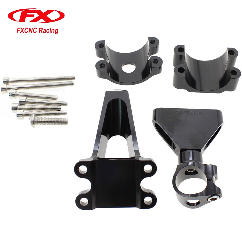 FX CNC Aluminum Adjustable Steering Stabilize Motorcycle Damper Bracket Mounting Kits Fit for HONDA CBR600 F4i 1999-2004  fxcnc aluminum steering damper stabilizer bracket mounting support kits fit for honda cbr600 f4i 1999 2004