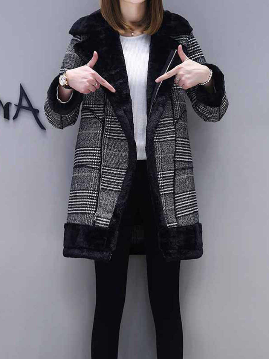 Клетчатое шерстяное пальто, Женское зимнее утепленное флисовое пальто, корейская мода, искусственный мех, теплая школьная уличная одежда для девочек, повседневная черная верхняя одежда