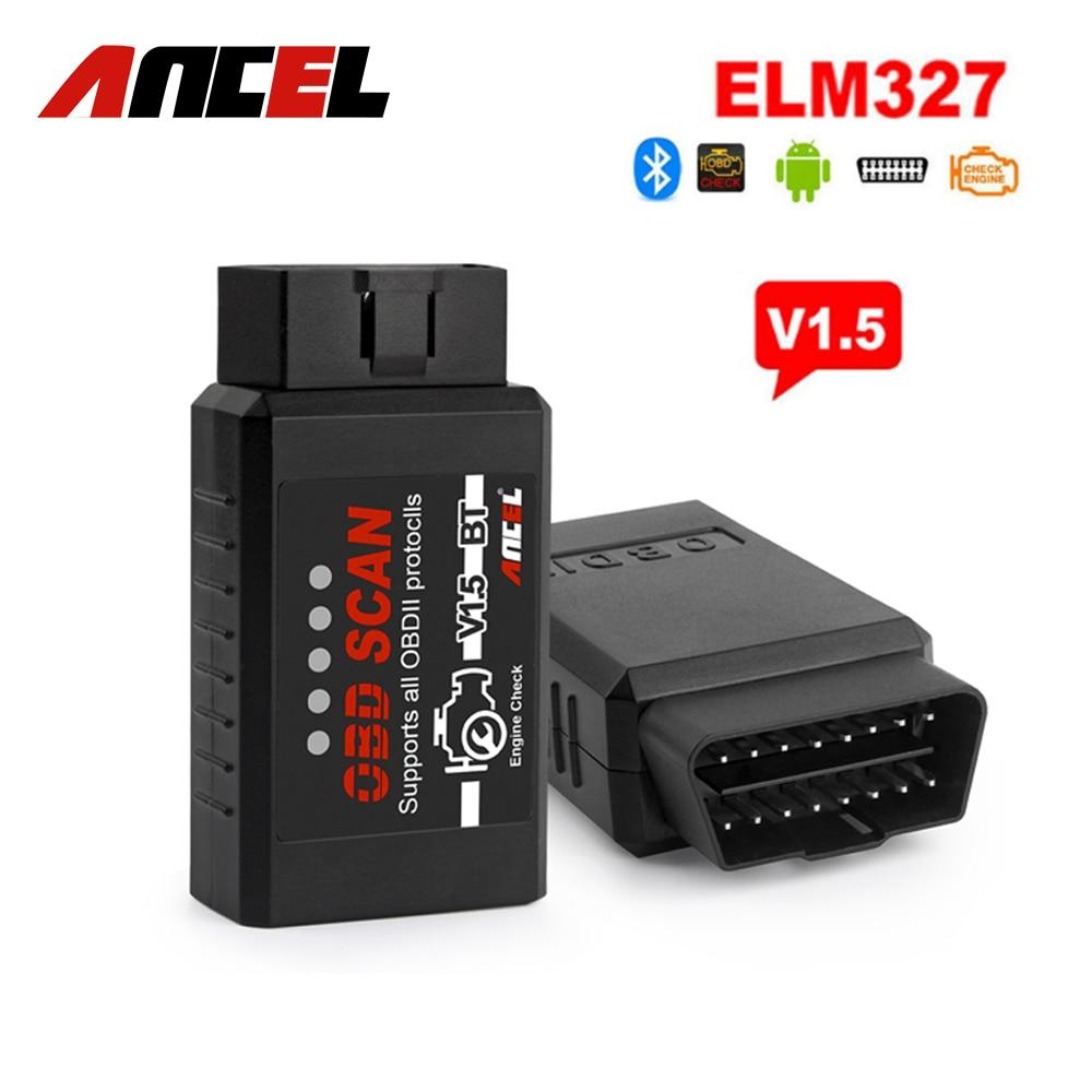 Prix pour ELM327 V1.5 Bluetooth ANCEL OBD2 Scanner Lecteur de Code Bluetooth Adaptateur pour Android Téléphone v1.5 PIC 25k80 Puce Elm 327 v 1.5