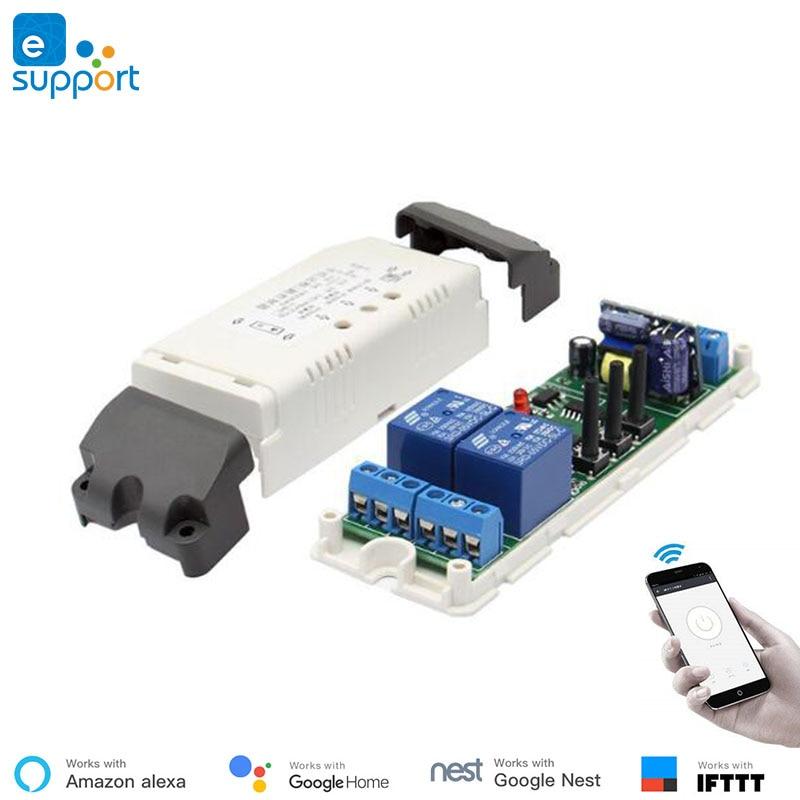 Google Home совместимый eWeLink WiFi 2-Канальный Релейный умный Модуль Автоматизации 220В переключатель двигателя