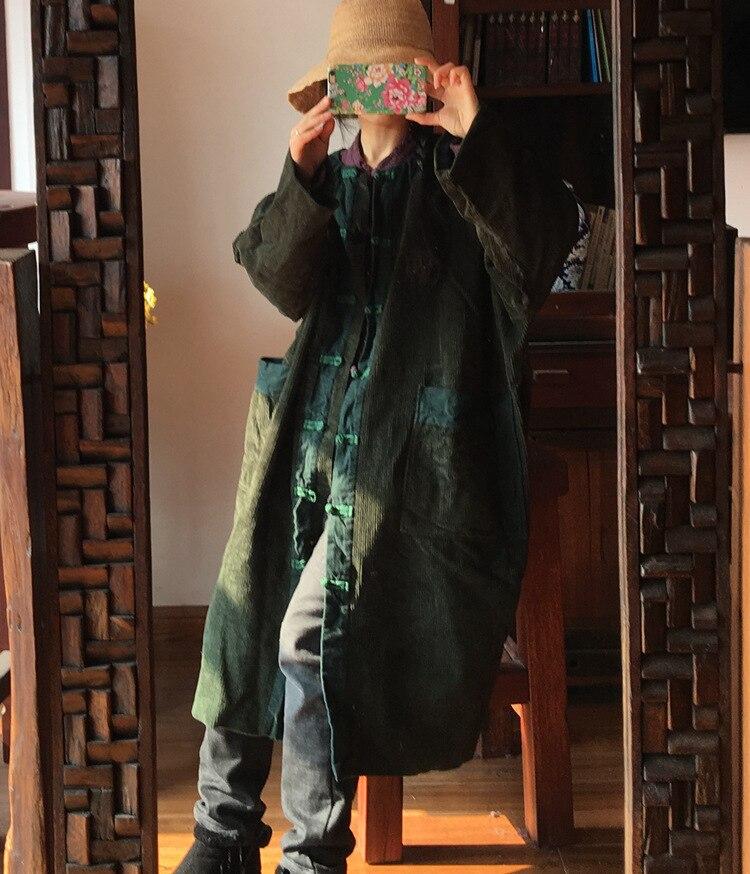 Design Kelly Sac Robe Femmes Vert 2019 Style Tranchée Rétro En Manteau Collision De Original Couleur Velours À Laver D338 Côtelé Chinois AIBqF5w