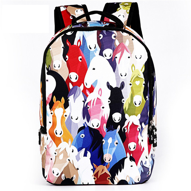 New Cute Horse Printed Canvas Women Backpack Female School Bags For Girls Backpacks Casual Bag Laptop Backpacks Mochila