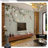 Custom 3d Photo Wallpaper High Quality Silk Cloth Wallpaper 3d TV Background Covering Magnolia Flowers Wall