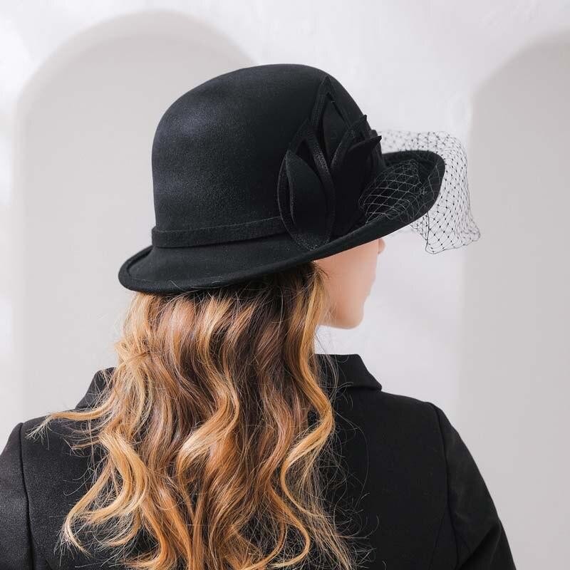 356334319e951 QDKPOTC 2018 Autumn Winter Trilby Hat Female volume Brim Fedoras Wool Felt  Dome Floral Bowler Women