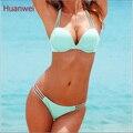 Luz azul Swimwears Empurrar Para Cima do Biquíni Brasileiro Sexy Bandage Praia Swimwear Senhoras Swimsuit Maiô Maillot De Bain 0190