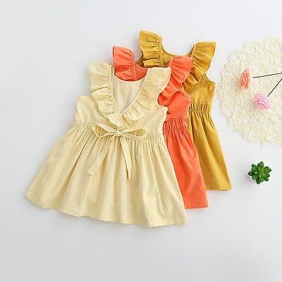 Helen115 Lovely Kid Baby Girls Summer Sleeveless O neck V Leak Back Cotton Dresses 2-8 Years