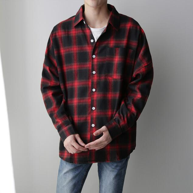 Men Drop Shoulder Plaid Shirt Checkered Pattern Mens Casual Shirts Loose Fit New 2017 Man Red Plaid Shirt Free Shipping