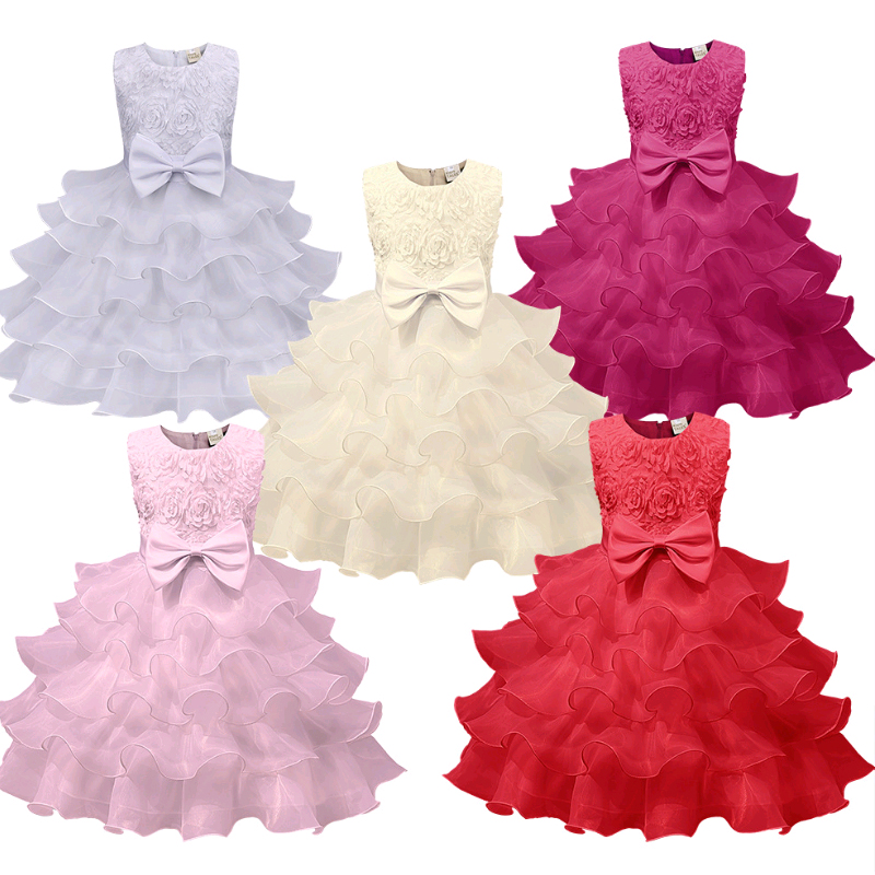 The girls dress birthday party banquet bowknot loveliness princess dress kilt fashion style pure color exemption from postage
