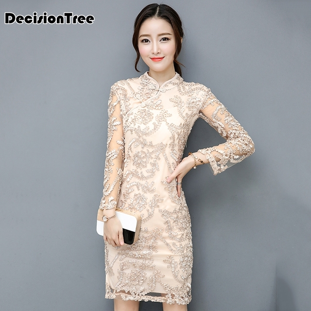 2019 summer arrival beige chinese women's elegant silk cheongsam qipao dress chinese traditional dress long sleeve lace qipao