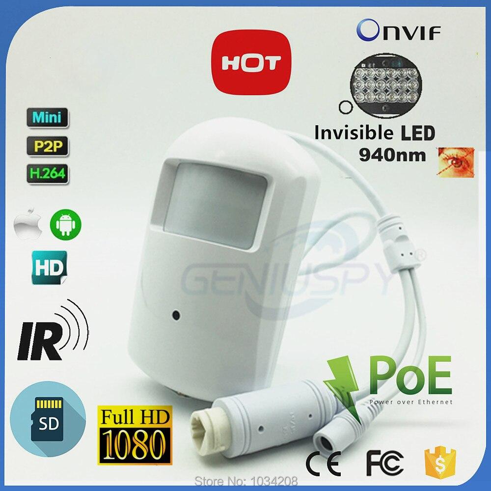 Аудио POE 940nm Невидимый 1080 P PIR IP Камера SD карты 2,0 МП Ночное видение Full HD Mini 18 светодиодный ИК -ИК безопасности ONVIF