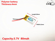 3.7V 80mah lithium polymer battery 041220 401220 041120 MP3 MP4 MP5 Bluetooth headset