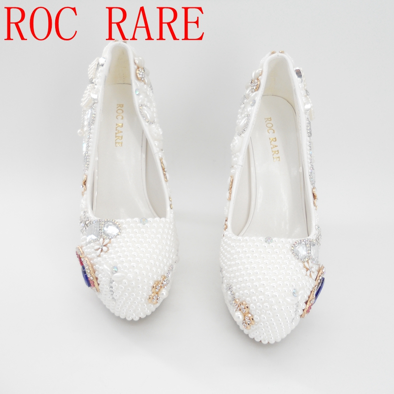 Ultra High Heel White Pearls Women Bling Wedding Shoes Platform Bridal Shoes Blue Heart Rhinestones Pumps 02