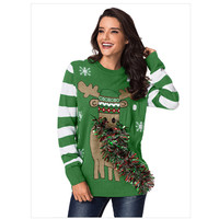 COCKATOO Funny Ribbon Design Christmas Tree Sweater Women Pattern Patchwork Plus Size O Neck Winter Knitted Slim Jumper Sweaters
