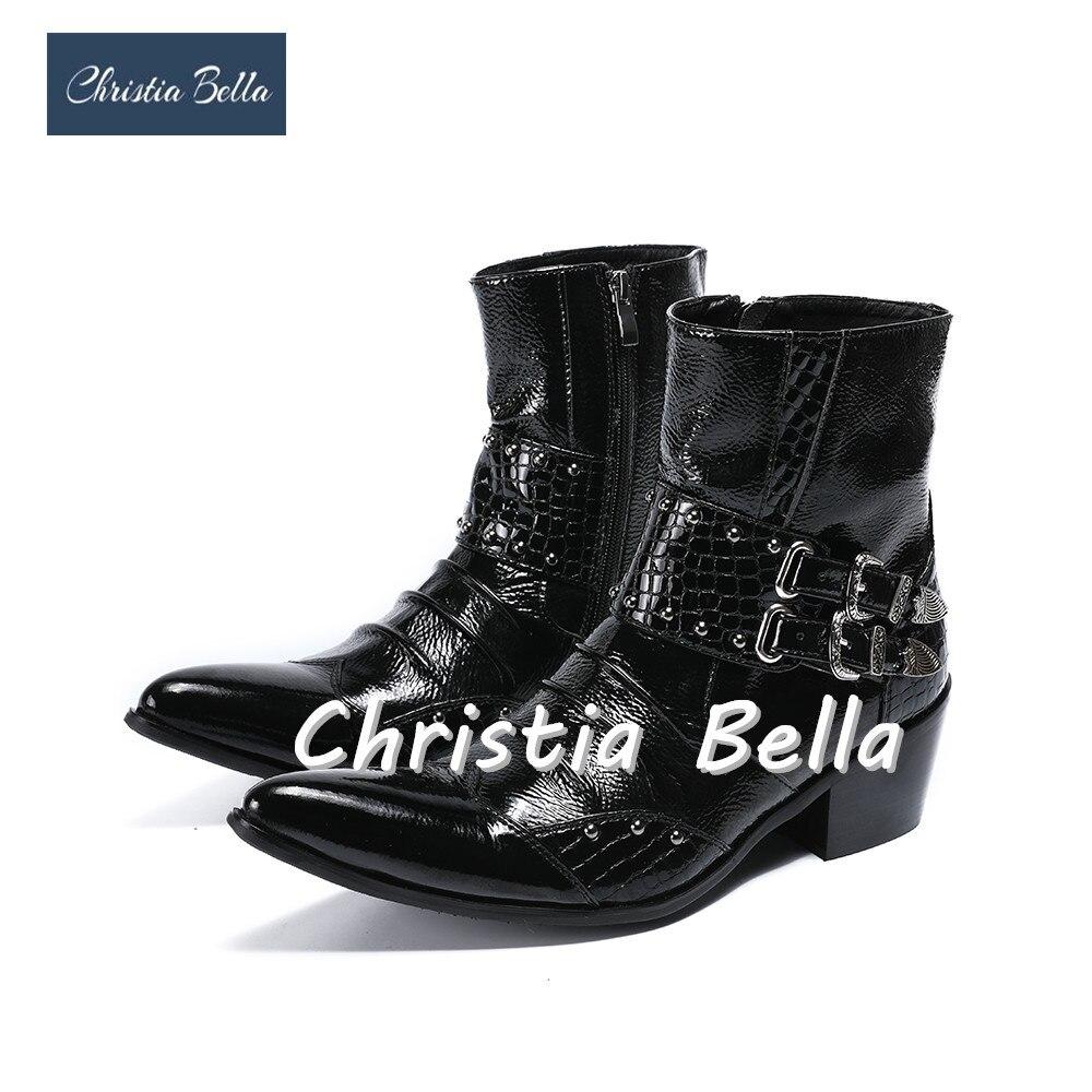 Кристиа Белла, мужские ботильоны из натуральной кожи в стиле панк мужские ковбойские ботинки с острым носком в стиле милитари Стильная мужс