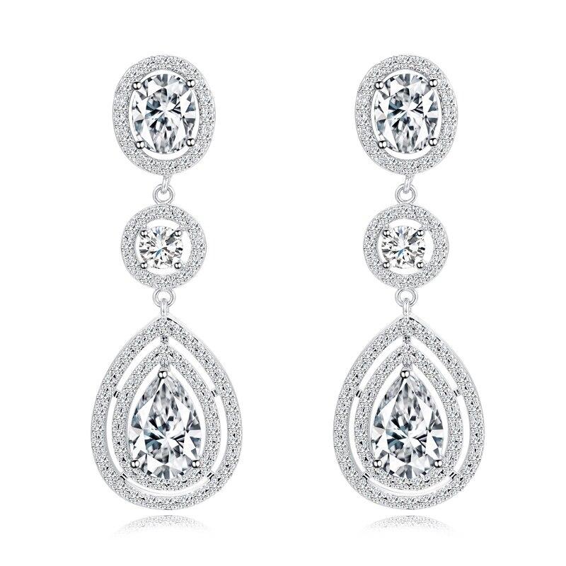 Long Style Drops White Zircon Garnet Onyx 925 Sterling Silver Dangle Earring For Women M02 E0212