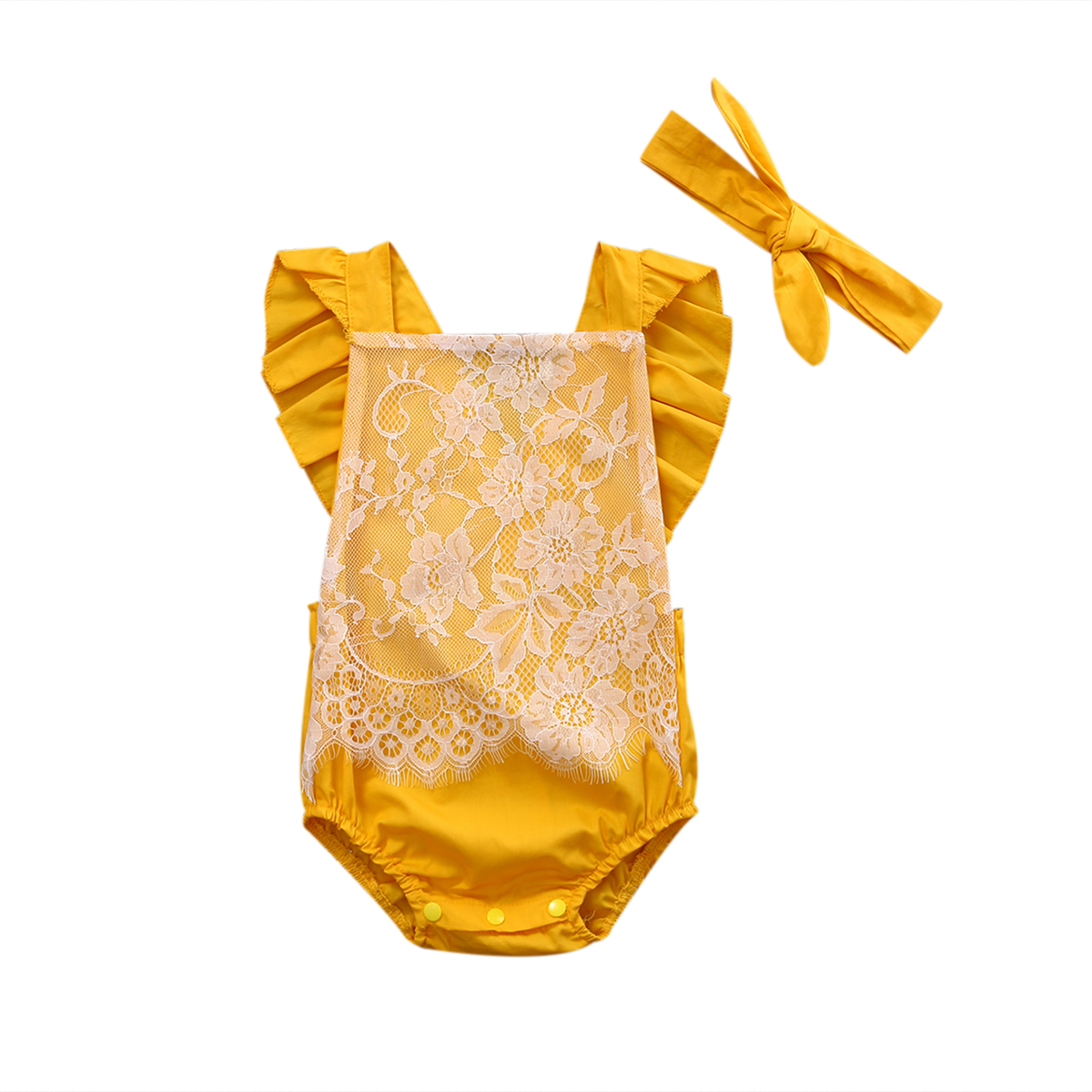 2PCS/Set Ruffles Newborn Infant Baby Girls Backless Halter Jumpsuit Lace Romper One Pieces Outfit Sunsuit Children Clothes 0-24M fashion 2pcs set newborn baby girls jumpsuit toddler girls flower pattern outfit clothes romper bodysuit pants
