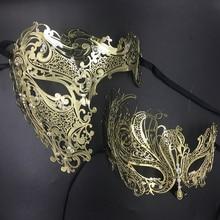 Zijn & Haar Paar Glitter Steentjes Metalen Filigraan Masker Venetiaans Kostuum Prom Party Ball Kerst Half Schedel Masker