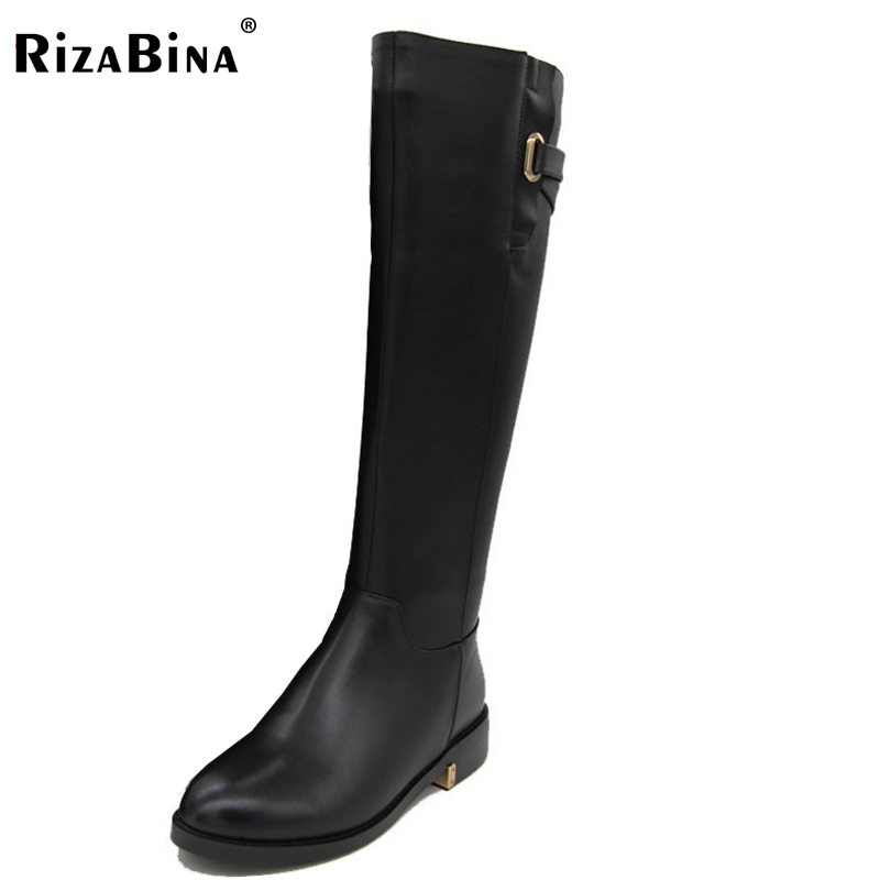 RizaBina Size 35-43 Russia Winter Warm Over Knee Natrual Genuine Leather Low Heel Boots Women Snow Shoes Footwear Boots R1494-1 serene handmade winter warm socks boots fashion british style leather retro tooling ankle men shoes size38 44 snow male footwear
