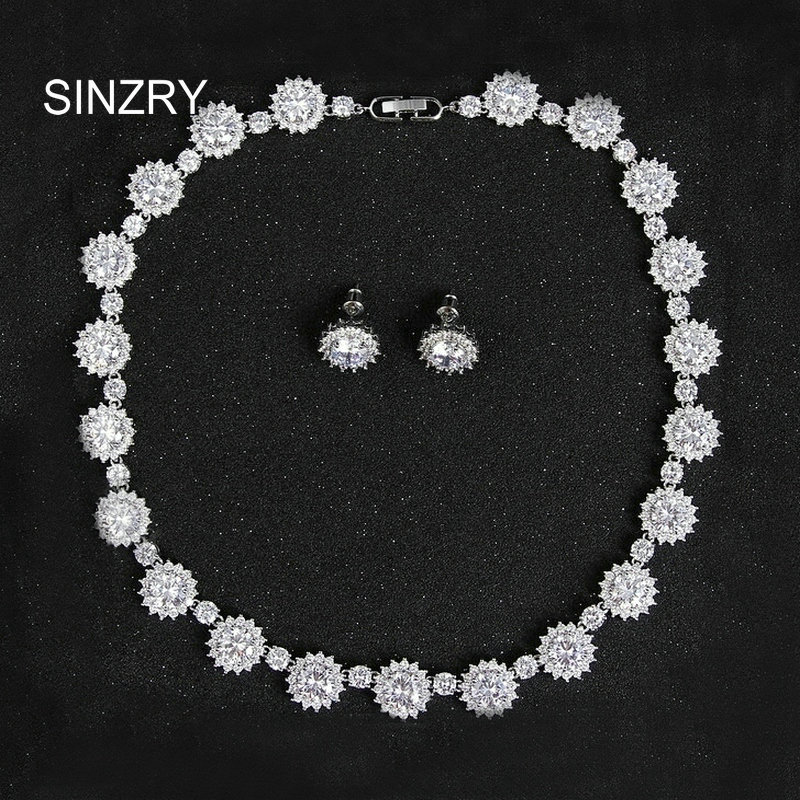 SINZRY new exquisite bridal jewelry set white cubic zircon sun flower wedding choker necklace earring jewelry set women flower geometric bar choker necklace set