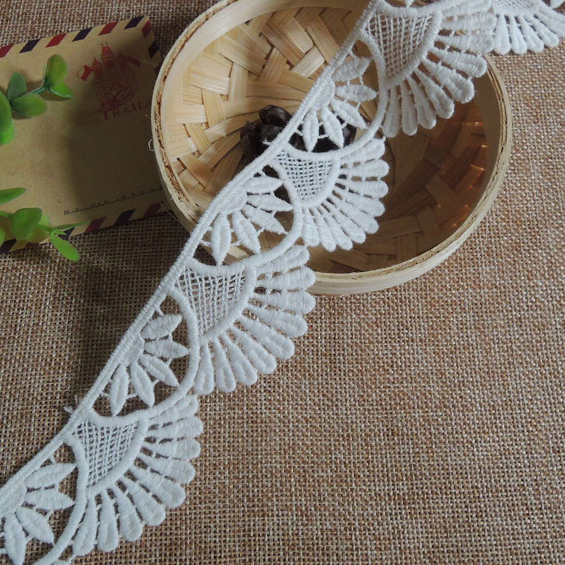 5Yards / Lot White Lace Trim Water Soluble Embroidery Cotton Lace DIY Lace Fabric Clothing Accessor RS279